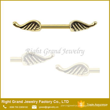 Anillo de la entrerrosca del ala del ángel de acero quirúrgico Barbell Shield 14G anillo de pezón de la joyería
