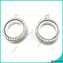 20mm kleine Silber Runde Medaillon mit Kristall (FL16041940)
