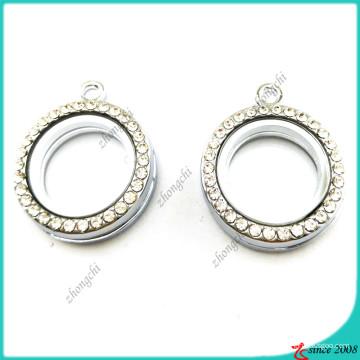 Locket redondo de plata pequeña de 20 mm con cristal (FL16041940)