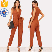 Khaki Zip Back Shawl Collar Knot Jumpsuits OEM/ODM Manufacture Wholesale Fashion Women Apparel (TA7018J)