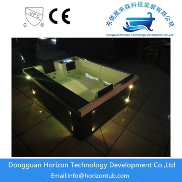 Waterfall hot tub in horizon tub