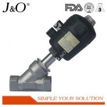 Válvula sanitaria de asiento angular de acero inoxidable con actuador de plástico