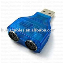 Blue USB to PS/2 adapter Converter used for transferring PS/2 mouse and keyboard to USB connector