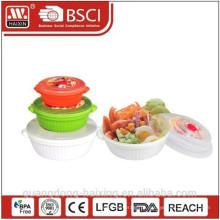 Recipiente de alimentos microondas redondo plástico conjunto 3pcs (0.8L/1.7L/3L)