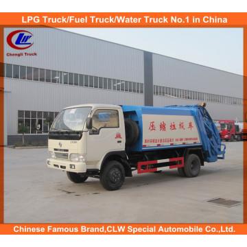 6 Wheeler Dongfeng 5cbm camión de basura comprimido, camión de compactadora de basura Mini
