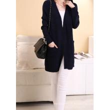 Estilo Ocidental Senhoras Long Cardigan Pure Color Casual Knit Sweater