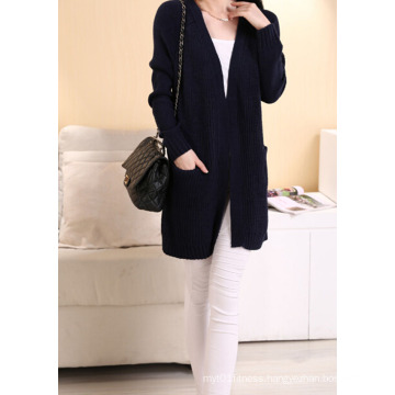 Western Style Ladies Long Cardigan Pure Color Casual Knit Sweater