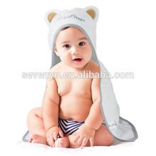 sin orejas orejas Suave 100% orgánica de bambú bebé con capucha baño toalla y bebé baño guante paquete