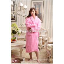 Embroidery Style Peach Honeycomb jacquard Fleece Bathrobe Women