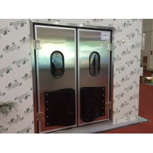 Stainless Steel Self-Return Swing Door Colorful with Glass Window