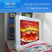Neuer Typ mit LED-Hintergrundbeleuchtung 12-Zoll-Quadrat digitaler Fotorahmen