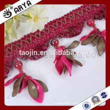 curtain design with beautifu and elegant pieces of red petal beads design fringe