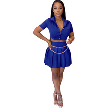 Latest Design Solid Color Short Sleeved Shirt Pleated Skirt with Chain Sexy Fashion Custom Ladies Plus Size 2 Piece Dress Set