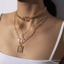 trendy multi-layer cross Jesus necklaces women,gold plated charm chain pendant necklace jewelry
