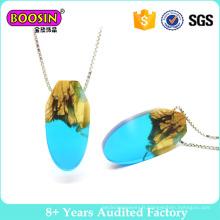 Collier de bijoux en bois Thuja en résine transparente fait main avec breloque en argent sterling 925