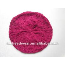 Lady machine jacquard tricoté chapeau / béret