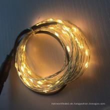 5m / 10m DC führte kupferne / silberne Draht-Schnur-Lichter für Innenhochzeitsdekoration im Freien