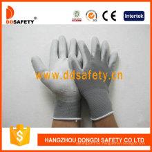 Guantes blancos de nylon de la PU, guantes de trabajo Dpu119