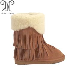 2018 women winter flat wool suede fringe boots