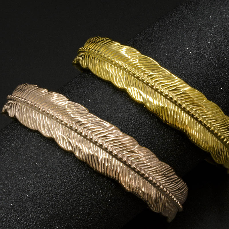 Gold Feather Cuff Bracelet