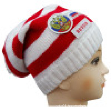 Knitted Beanie with Patch and Embroidery NTD1607