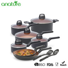 Exclusive 14pcs Copper Coating Cookware Set with Bakelite Handle