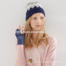 Unisex 100% cashmere jacquard thick knitted pom pom hat