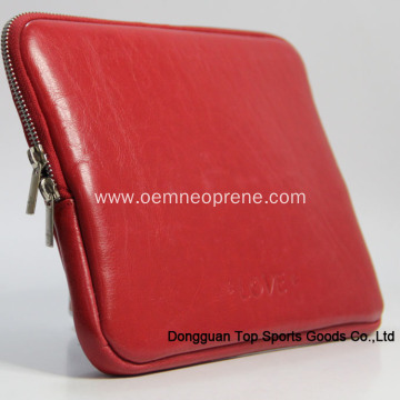 Waterproof Soft Red Leather Laptop Sleeves