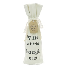 Canvas Drawstring Christmas Wine Bottle Gift Bag