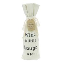 Saco de presente de garrafa de vinho de Natal com cordão de lona