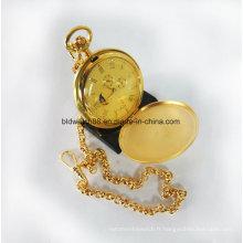 Boîtier en laiton de qualité Montre de poche en métal plaqué or