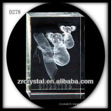 K9 3D Laser Etched Koala Inside Crystal Rectangle