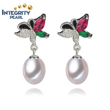New Pearl Earrings 8-9mm AAA Drop Freshwater Pearl Earring Jewelry