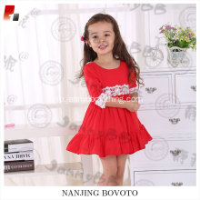 girls big ruffles red viscose lace backless dress