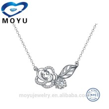 925 sterling silver 18k gold/ rose gold plated rose flower necklace with clear cz