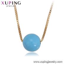 43949 mode gros chine pas cher belle simple 18k perle bleuâtre collier plaqué or