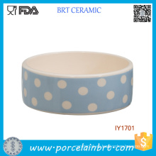 Venta al por mayor Blue and White Wave Point Ceramic Pet Bowl