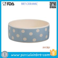 Bacia cerâmica por atacado do animal de estimação do ponto azul e branco da onda