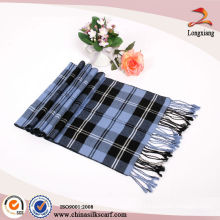 Blue-Black Check 100% Foulard Viscose