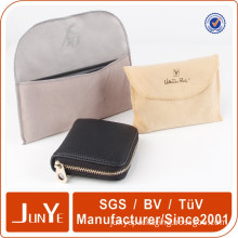 custom logo printed fold over fabric bags cover for wallets leather case