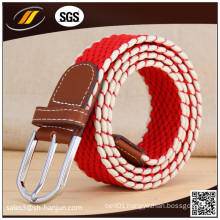 Women′s Two Tone Braided Leather Inlay Stretch Knitted Belt