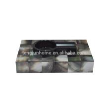Cenicero de madera para cigarros negro con concha para accesorios para fumar