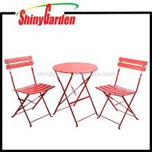Conjuntos de muebles para patio al aire libre, conjuntos de bistrós, juegos de mesa y sillas de acero plegables