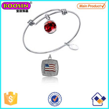 Factory Sale Metal Alloy American Flag Charm Expandable Bracelets