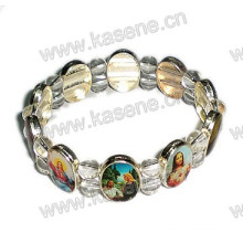 Religion Colored Pictures Silver Metal Saint Rosary Bracelet