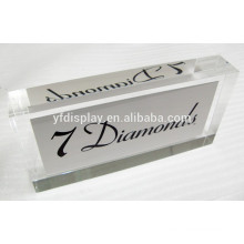 Transparent Clear Acrylic Embedment Paperweight with Sign Display