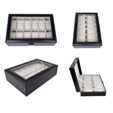 Caja de reloj de cuero negro de 12 rejillas (HX-A0756)