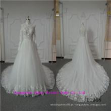 Elegante mangas compridas vestido de noiva