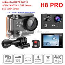 Mais recente Realmente 4 K Câmera Esporte À Prova D 'Água H8R Pro Câmera de Vídeo Sem Fio 360VR Ambarella A12 IMX078 Wi ...