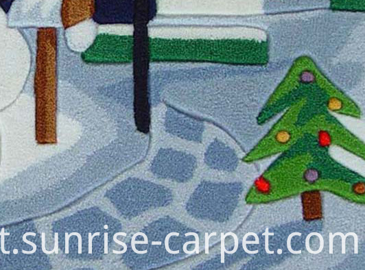 Acrylic Hand Tufted Rug with Snowman Design